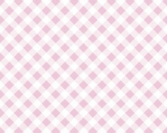 1 yard Riley Blake Designs Sew Cherry 2 pink Gingham cotton fabric, designed by Lori Holt