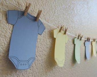 Onesie Baby Boy Shower Garland yellow blue green banner clothespin party supplies decor