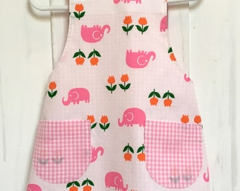 Pink Elephant and tulips, Pink gingham, reversible cross-back apron for little kids (XXS)