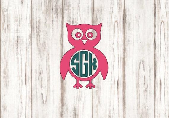 Owl Monogram Decal Owl Decal Custom Decal Vinyl Decal YETI - Owl custom vinyl decals for car