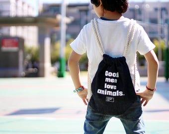 Denim Drawstring Backpack (Kids)