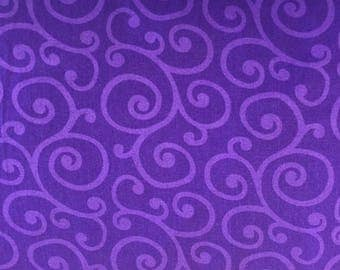 """108"""" Cotton Quilt Backing - Royal Purple With Scrolls by Windham Fabrics"""