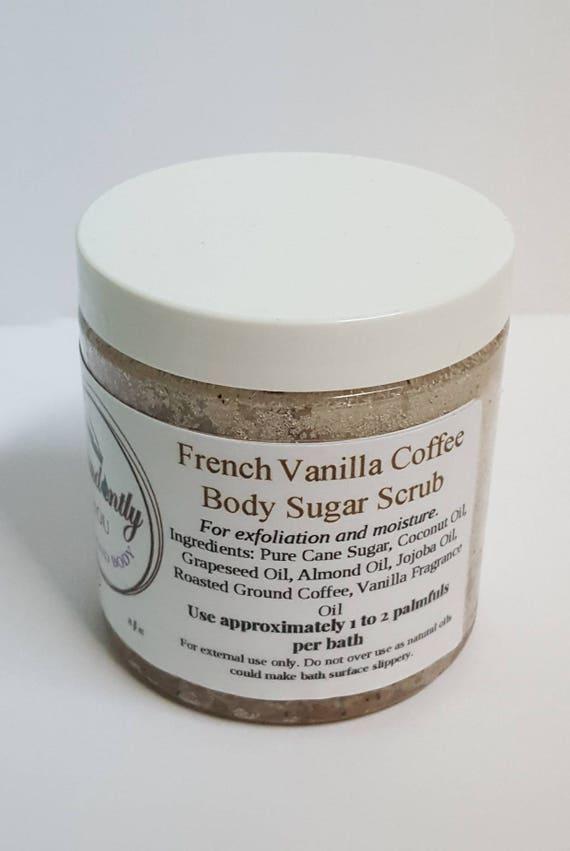 French Vanilla Coffee and Sugar Body Scrub 8 oz | Exfoliating | Hydrating Shower Scrub | Body Polish