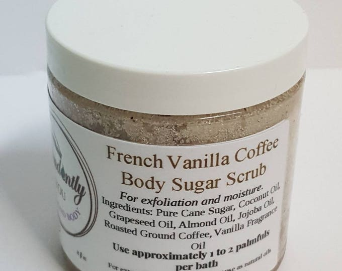 French Vanilla Coffee and Sugar Body Scrub 8 oz | Exfoliating | Hydrating Shower Scrub | Body Polish