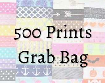 Hair Ties ~ 500 Pack GRAB BAG PRINTS Handmade Trendy Ponytail Holders Knotted Stretchy Elastic Yoga Hair Bands