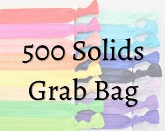 Bulk Hair Ties, 500 Solid Hair Ties - GRAB BAG - Handmade Hair Ties - Ponytail Holders - FOE - Hair Bands - Fold Over missponytail