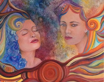 Sisters - original oil on canvas painting
