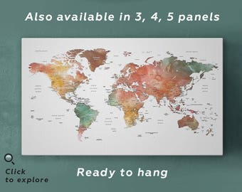 World map wall art etsy brown watercolor world map print on canvas world map wall art detailed print push gumiabroncs Gallery