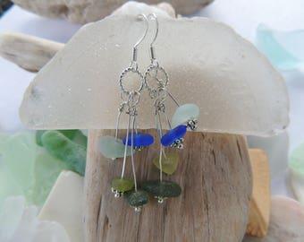 Green and Blue Sea Glass Dangle Earrings, Authentic Sea Glass