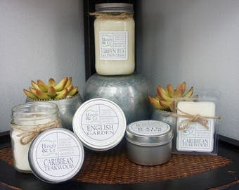 8 Ounce Mason Jar Candle//100% Soy Wax//Cotton Wick//Hand Poured//Summer Spring Scents