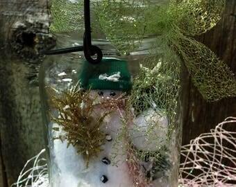 Snowmen Vintage Ball Quart Canning Jar w a Metal Bail & Glass Lid Snowman