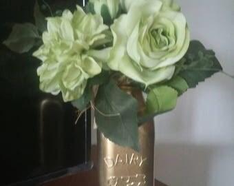 Floral Centerpiece,Painted Jar Centerpiece,Wedding Centerpiece,Gold painted Jar,Milk Jar Centerpiece,Rustic Farm Decor,Painted Dairy Jar