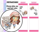 Paula - Grocery Shopping Planner Stickers, Kawaii Stickers, Character Stickers, Hand drawn Stickers, Chibi Planner Stickers