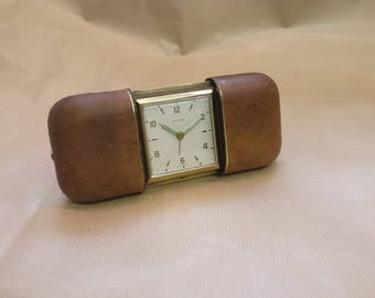 Vintage Estyma Leather Bound Travel Clock, West Germany