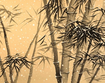 Chinese Painting, The Bamboo in snow, Ink Painting, Original artwork.