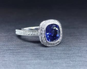 Sapphire Halo Engagement Ring - Sapphire Cushion - Halo Cushion Cut - Sapphire Halo Ring - Cushion Cut Ring - Halo Cushion - Sapphire Ring