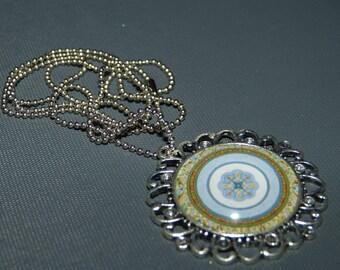 Baroque cabochon Mandala pendant