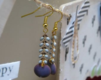Earrings enameled ear chain & sequin