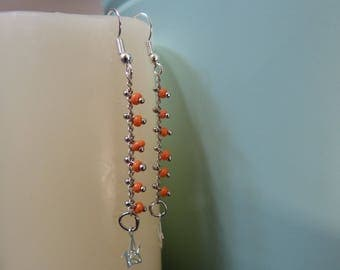 Silver chain earrings coral seed & Origami