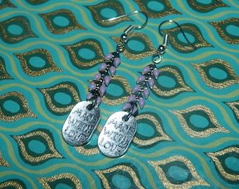 Earrings silver chain spike & Locket