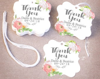 50 THANK YOU Wedding Tags | Personalized Wedding Favor Tags | Floral Peony