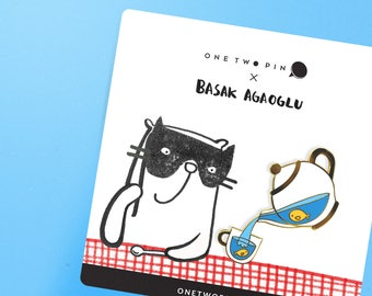 Basak Agaoglu - Fish in a Pot Pin - Gold Plated Enamel Lapel Pin