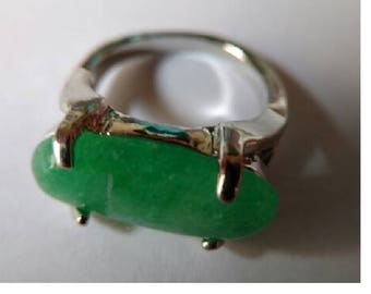 Silver Plated Green Agate Stone Ring
