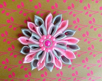Kanzashi flower Black and Grey Headband or Hair barrette