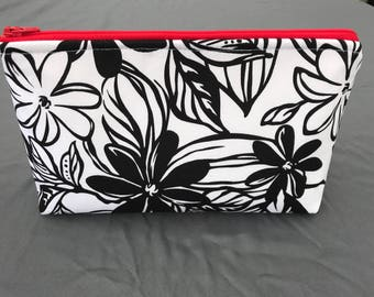 All Purpose black n white flower print Pouch
