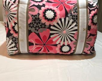 Pink n Gray flower Duffle bag