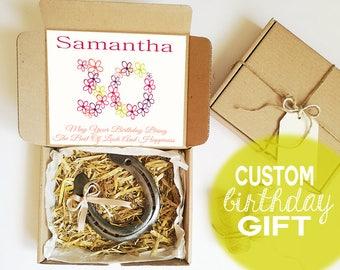 Personalised Birthday Gift - Any Age, 16th Birthday Gift, Horseshoe charm, Custom Bitrthday Gift for Girl, Horseshoe For Luck, Anniversary