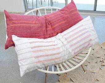 Vintage Hmong Pink Lumbar Pillow - 14X36