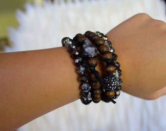Walk On The Dark Side Stacked Bracelets