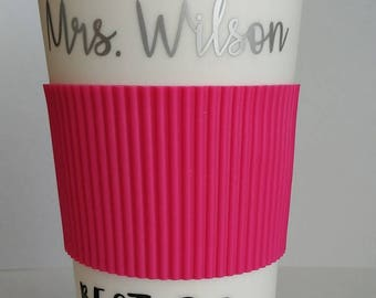 16oz Double wall Travel Mug Red,Black,Dark Blue,Red or Pink with a Travel Sleeve Customized Your Name, Logo or Quote.