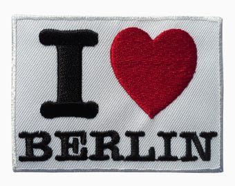 Patch/Ironing-I love Berlin – White – 7.6 x 5.8 cm-by catch-the-Patch ® patch appliqué applications for ironing application patches patch