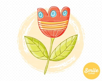 Doodle Tulip Flower Clipart Illustration for Commercial Use   0509