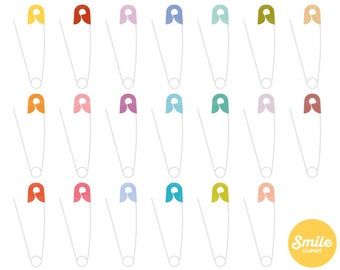 Open Safety Pin Clipart Illustration for Commercial Use | 0555