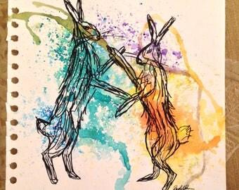 Original Boxing Hare painting