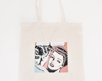 Hand Painted Pop Art Tote Bag