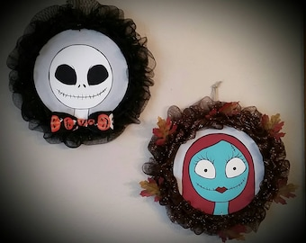 CLEARANCE! Jack Skellington & Sally Nightmare Before Christmas Wreath Set