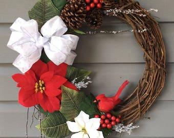 Christmas Wreath for Front Door, Xmas Wreath, Christmas Wreath, Cardinal Christmas Wreath, Rustic Wreath, Poinsettia Wreath, Christmas Decor