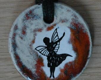 Orginal handicraft: necklace pendant with a cute fairy. jewellery charm pixie angel