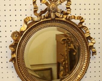 Small Bathroom Hallway French Gilded Gold Leaf Beveled Ribbon Mirror