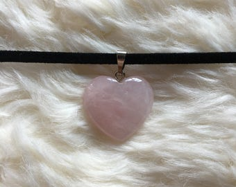 Gemstone Choker, Rose Quartz Heart Choker, Crystal Choker, Rose Quartz Crystal Choker Necklace, Love Stone