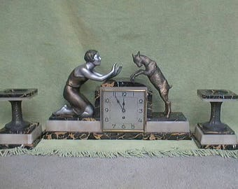 Art Deco Pannette & Goat Clock  A French spelter clock set depicting a Pannette figure with goat, 1930