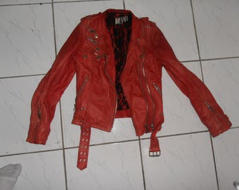 Red Leather Jacket Jofama from Sweden 80s style