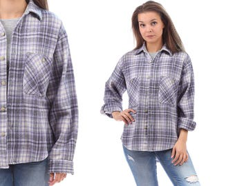 THICK FLANEL Shirt 80s Soft Wool Blend Grunge Lumberjack Tartan Plaid Gray Black White Oversize Long Sleeve 1980s Vintage Large