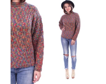 Vintage HAND KNIT Sweater 70s Red Green Blue Space Dye RIBBED Jumper Speckled Funnel Neck Knitwear Boho Autumn Winter Pullover Small Medium