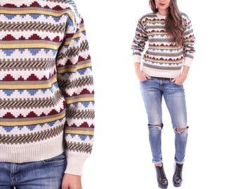 AZTEC Sweater 80s Jumper Geometric Wool Blend Cream White Beige Blue Southwestern Stripe Crew Neck Pullover Bohemian Vintage Gift Small