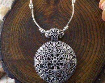 Tibetan Silver Floral Medallion Necklace